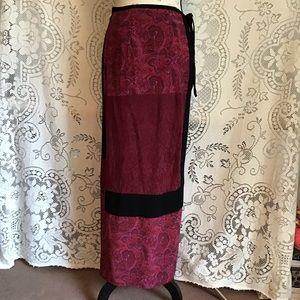 Vintage-Carole Little, Patchwork Wrap Maxi Skirt